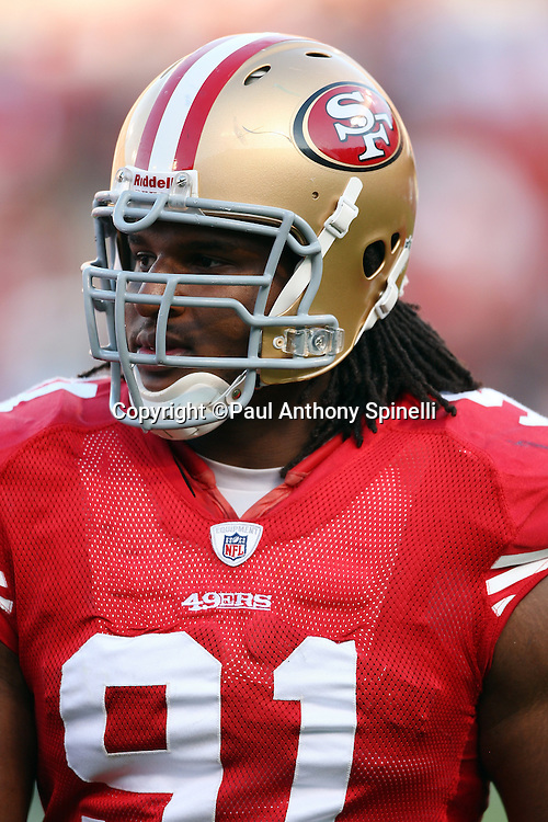 San Francisco 49ers defensive tackle Ray McDonald (91) looks on during the NFL football game against the Tennessee Titans, November 8, 2009 in San Francisco, California. The Titans won the game 34-27. (©Paul Anthony Spinelli)