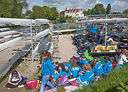 Maidenhead. Berkshire. United Kingdom. General view Competitors, relaxing in the  the car park/trailer park, between races,  Maidenhead RC Boathouse. 2017 Maidenhead Junior Regatta  River Thames. <br /> <br /> [©Peter SPURRIER/Intersport Images] Sunday. 14.05.2017
