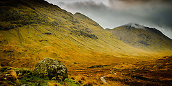 Stormy autumn weather on the path to Glen Etive from Rannoch Moor, Highlands of Scotland<br /> <br /> (c) Andrew Wilson | Edinburgh Elite media