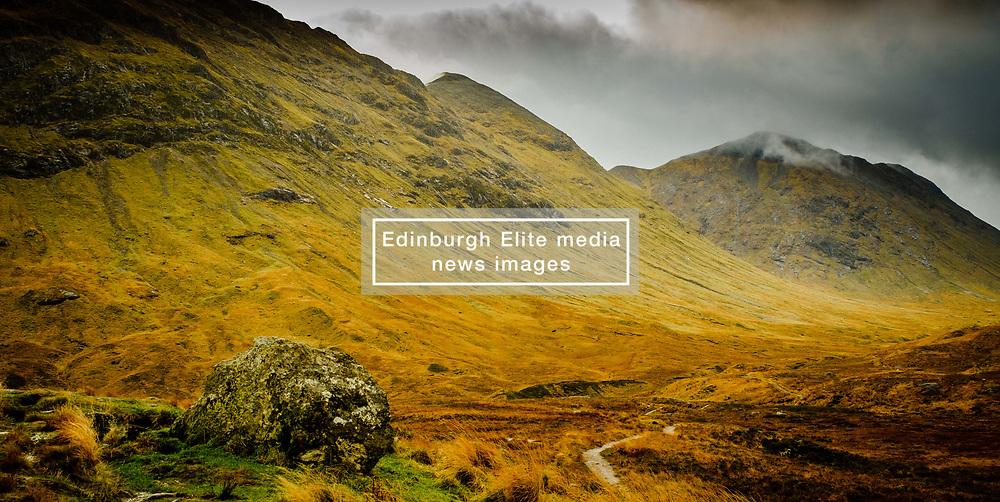 Stormy autumn weather on the path to Glen Etive from Rannoch Moor, Highlands of Scotland<br /> <br /> (c) Andrew Wilson   Edinburgh Elite media
