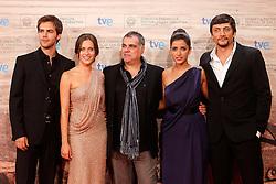 21.09.2011, Sebastian Donostia, ESP, 59. San Sebsatian Filmfestival, Zinemaldia, im Bild The actors Daniel Holguin (r), Inma Cuesta (2r), Maria Leon (2l) and Marc Clotet (l) and the director Benito Zambrano (c) during the 59th San Sebastian Donostia International Film Festival - Zinemaldia.September 21,2011. EXPA Pictures © 2011, PhotoCredit: EXPA/ Alterphoto/ Acero +++++ ATTENTION - OUT OF SPAIN/(ESP) +++++