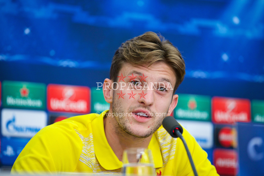 BASEL, SWITZERLAND - Tuesday, September 30, 2014: Liverpool's Adam Lallana during a press conference at the St. Jakob Stadium ahead of the UEFA Champions League Group B match against FC Basel. (Pic by David Rawcliffe/Propaganda)