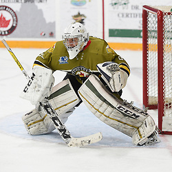 "TRENTON, ON  - MAY 4,  2017: Canadian Junior Hockey League, Central Canadian Jr. ""A"" Championship. The Dudley Hewitt Cup. Game 5 between Powassan Voodoos and the Georgetown Raiders. Nate McDonald #33 of the Powassan Voodoos protects the crease during the third period.<br /> (Photo by Andy Corneau / OJHL Images)"