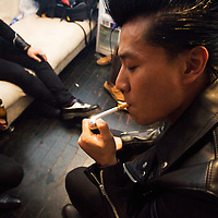 BEIJING, OCTOBER 2013 :  legendary punk band Anarchy Boys relaxes backstage  at Beijing's Yugong Yishan Club.