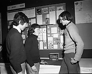 3/1/75.1/3/75.3rd January 1975.The Aer Lingus Young Scientist Exhibition at the RDS, Dublin...Picture shows L-R Ronan Cooney, who did a project on the generation of electricity from wind; Robert Bogua, who won a prize for Best Presentation in the Senior Section in Biology with a study of the birds which frequent the Boyne estuary wildfowl sanctuary; and Gerard Hayanga who did a project on the insect world of survival. All three are pupils at the Christian Brothers Secondary School, Drogheda. ..