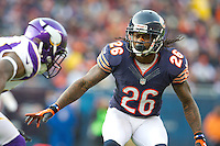 25 November 2012: Cornerback (26) Tim Jennings of the Chicago Bears in game action against the Minnesota Vikings during the second half of the Bears 28-10 victory over the Vikings in an NFL football game at Soldier Field in Chicago, IL.