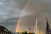 """Annapolis, Maryland - June 05, 2016: A rainbow is seen during a light shower over Historic Annapolis, Md., Sunday June 5th, 2016. Annapolis is one of the most prone cities in the U.S. to nuisance flooding. <br /> <br /> <br /> A perigean spring tide brings nuisance flooding to Annapolis, Md. These phenomena -- colloquially know as a """"King Tides"""" -- happen three to four times a year and create the highest tides for coastal areas, except when storms aren't a factor. Annapolis is extremely susceptible to nuisance flooding anyway, but the amount of nuisance flooding has skyrocketed in the last ten years. Scientists point to climate change for this uptick. <br /> <br /> <br /> CREDIT: Matt Roth for The New York Times<br /> Assignment ID: 30191272A"""