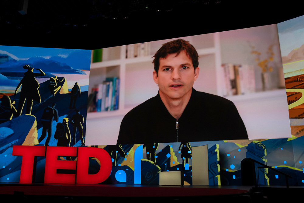 Ashton Kutcher speaks at TED2019: Bigger Than Us. April 15 - 19, 2019, Vancouver, BC, Canada. Photo: Bret Hartman / TED