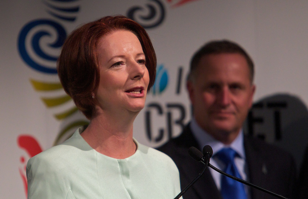Announcement re 2015 Cricket World Cup with Australian Prime Minister Julia Gillard and New Zealand Prime Minister John Key. Pic By Craig Sillitoe CSZ/The Sunday Age.28/01/2012 melbourne photographers, commercial photographers, industrial photographers, corporate photographer, architectural photographers, This photograph can be used for non commercial uses with attribution. Credit: Craig Sillitoe Photography / http://www.csillitoe.com<br />