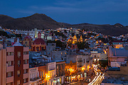 Sunset over the city of Guanajuato, Central Mexico
