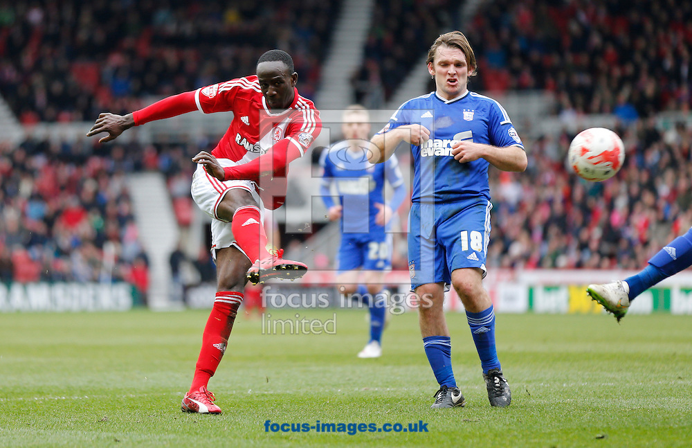 Albert Adomah (l) of Middlesbrough shooting during the Sky Bet Championship match at the Riverside Stadium, Middlesbrough<br /> Picture by Simon Moore/Focus Images Ltd 07807 671782<br /> 14/03/2015