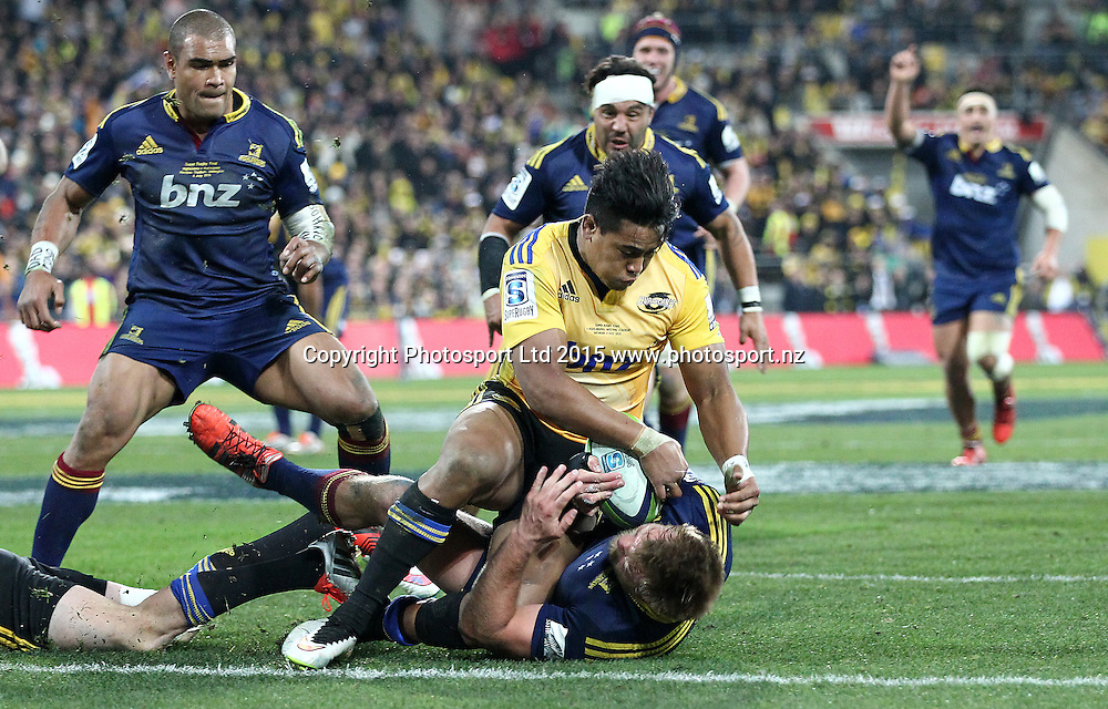 Hurricanes' Julian Savea makes a try saving tackle on the line against Highlanders' Ross Geldenhuys  during the Super Rugby Final, Hurricanes v Highlanders. Westpac Stadium, Wellington, New Zealand. 4 July 2015. Copyright Photo.: Grant Down / www.photosport.nz