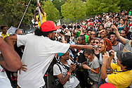 Date: August 25-26, 2012. AfroPunk Festival 2012. Location: Commodore Barry Park, Brooklyn, NY. Street Style. Photographs by Margarita Corporan. CREDIT: Margarita Corporan. CAPTION: Performing, Ninjasonik