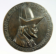 John VIII Palaeologus (1390-1448) Emperor of Constantinople from 1425. Portrait medal by Pisanello (c1395-1455) Italian painter and medallist from sketches made in 1438-1439. Antonio di Puccio Pisan.