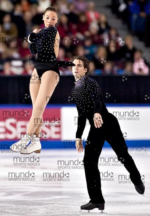 Ottawa, Ontario ---06/1/14--- Jessica Dube and Bryce Davison skate their free program in the senior pair competition at the Canadian Championships in Ottawa Saturday January 14, 2006. The couple placed second..GEOFF ROBINS The Ottawa Sun<br />
