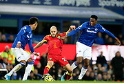Norwich City forward Teemu Pukki (22) in the middle of Everton defender Mason Holgate (2) and Everton defender Yerry Mina (13) during the Premier League match between Everton and Norwich City at Goodison Park, Liverpool, England on 23 November 2019.