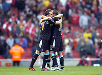 Photo: Olly Greenwood.<br />Arsenal v West Ham United. The Barclays Premiership. 07/04/2007. West Ham's Matthew Etherington, Lee Bowyer and Mark Noble celebrate winning at the end of the game