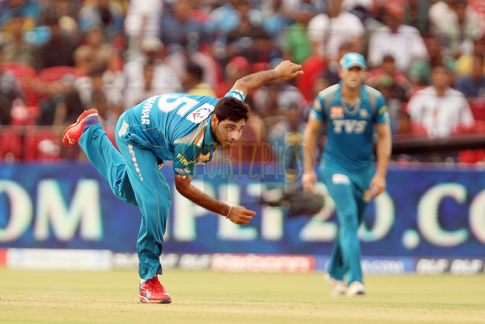 Bhuvneshwar Kumar during match 42 of the the Indian Premier League ( IPL) 2012  between The Deccan Chargers and the Pune Warriors India held at the Barabati Stadium, Cuttack on the 1st May 2012..Photo by: Jacques Rossouw/IPL/SPORTZPICS