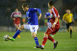Leicester Forward Chris Wood (NZL) controls the ball under pressure from Middlesbrough Defender Sebastian Hines (ENG) during the first half of the match - Photo mandatory by-line: Rogan Thomson/JMP - Tel: Mobile: 07966 386802 18/01/2013 - SPORT - FOOTBALL - King Power Stadium - Leicester. Leicester City v Middlesbrough - npower Championship.