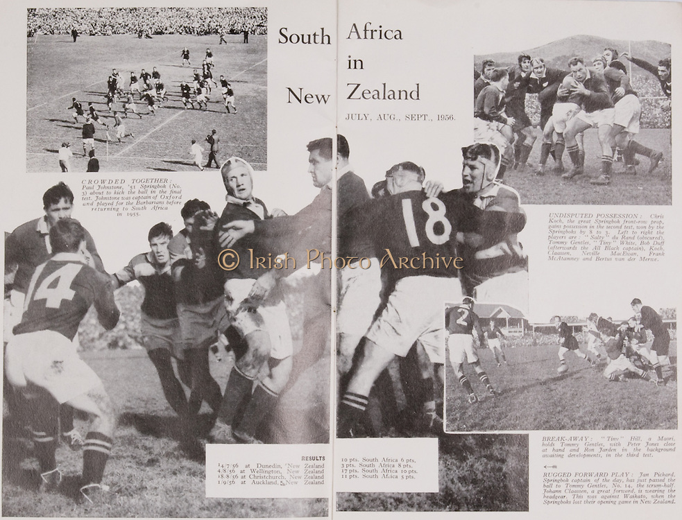 Irish Rugby Football Union, Ireland v France, Five Nations, Landsdowne Road, Dublin, Ireland, Saturday 26th January, 1957,.26.1.1957, 1.26.1957,..Referee- L M Boundy, ..Score- Ireland 11 - 6 France, ..Irish Team, ..P J Berkery, Wearing number 15 Irish jersey, Full back, Landsdowne Rugby Football Club, Dublin, Ireland,..A J O'Reilly, Wearing number 14 Irish jersey, Right Wing, Old Belvedere Rugby Football Club, Dublin, Ireland, ..N J Henderson, Wearing number 13 Irish jersey, Captain of the Irish team, Right centre, N.I.F.C, Rugby Football Club, Belfast, Northern Ireland, ..A C Pedlow, Wearing number 12 Irish jersey, Left centre, Queens University Rugby Football Club, Belfast, Northern Ireland,..N H Brophy, Wearing number 11 Irish jersey, Left wing, University College Dublin Rugby Football Club, Dublin, Ireland, ..J W Kyle, Wearing number 10 Irish jersey, Ouside Half, N.I.F.C, Rugby Football Club, Belfast, Northern Ireland, ..A A Mulligan, Wearing number 9 Irish jersey, Scrum Half, Cambridge University Rugby Football Club, Cambridge, England, and, London Irish Rugby Football Club, Surrey, England, ..P J O'Donoghue, Wearing  Number 1 Irish jersey, Forward, Bective Rangers Rugby Football Club, Dublin, Ireland, ..R Roe, Wearing number 2 Irish jersey, Forward, London Irish Rugby Football Club, Surrey, England, ..B G Wood, Wearing number 3 Irish jersey, Forward, Garryowen Rugby Football Club, Limerick, Ireland, ..T E Reid, Wearing number 4 Irish jersey, Forward, Garryowen Rugby Football Club, Limerick, Ireland, and, London Irish Rugby Football Club, Surrey, England, ..J R Brady, Wearing number 5 Irish jersey, Forward, C I Y M S Rugby Football Club, Belfast, Northern Ireland, ..H S O' Connor, Wearing number 6 Irish jersey, Forward, Dublin University Rugby Football Club, Dublin, Ireland,..P J A O'Sullivan, Wearing  Number 7 Irish jersey, Forward, Galwegians Rugby Football Club, Galway, Ireland,..J R Kavanagh, Wearing number 8 Irish jersey, Forward, Wanderers Rugby Football