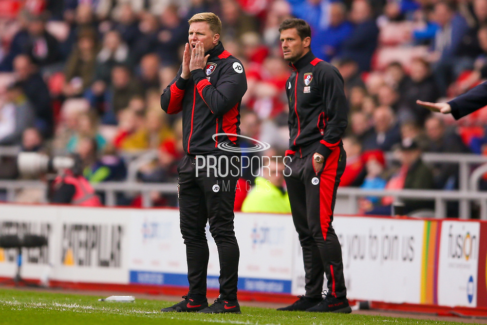 Bournemouth Manager Eddie Howe  during the Premier League match between Sunderland and Bournemouth at the Stadium Of Light, Sunderland, England on 29 April 2017. Photo by Simon Davies.