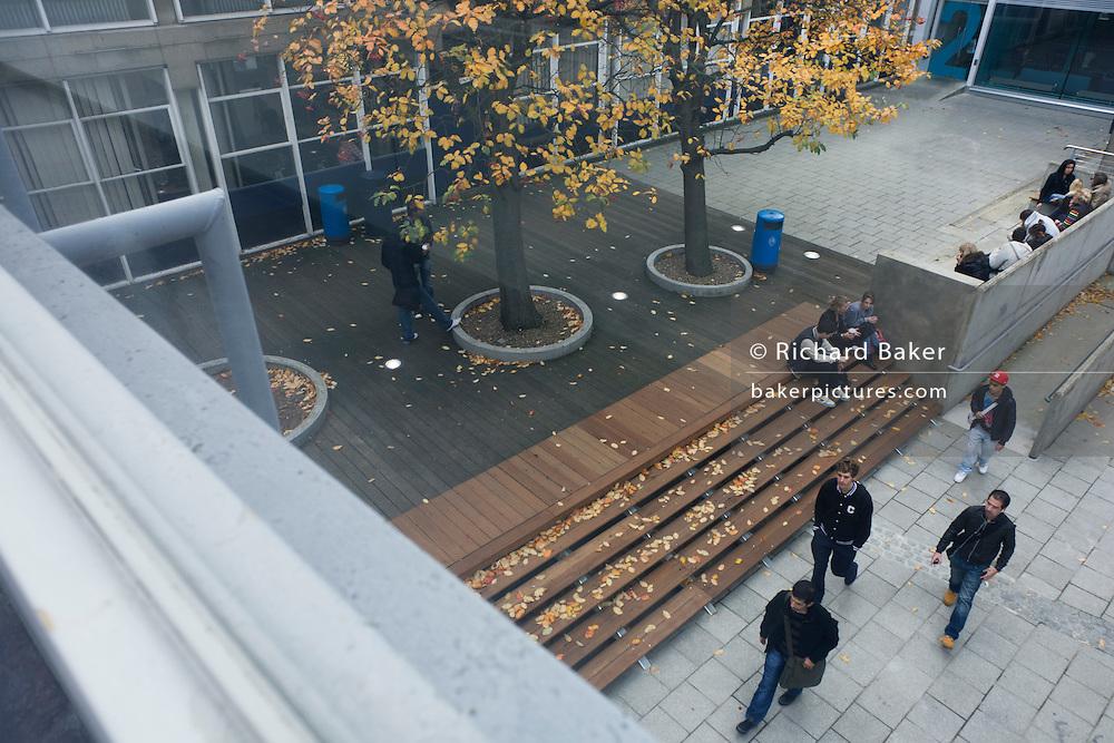Walkway and students below at London Metropolitan University's Holloway Road campus.