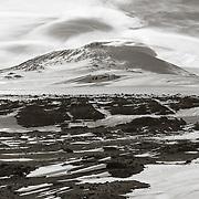 Mount Erebus from Cape Evans Windvane Hill