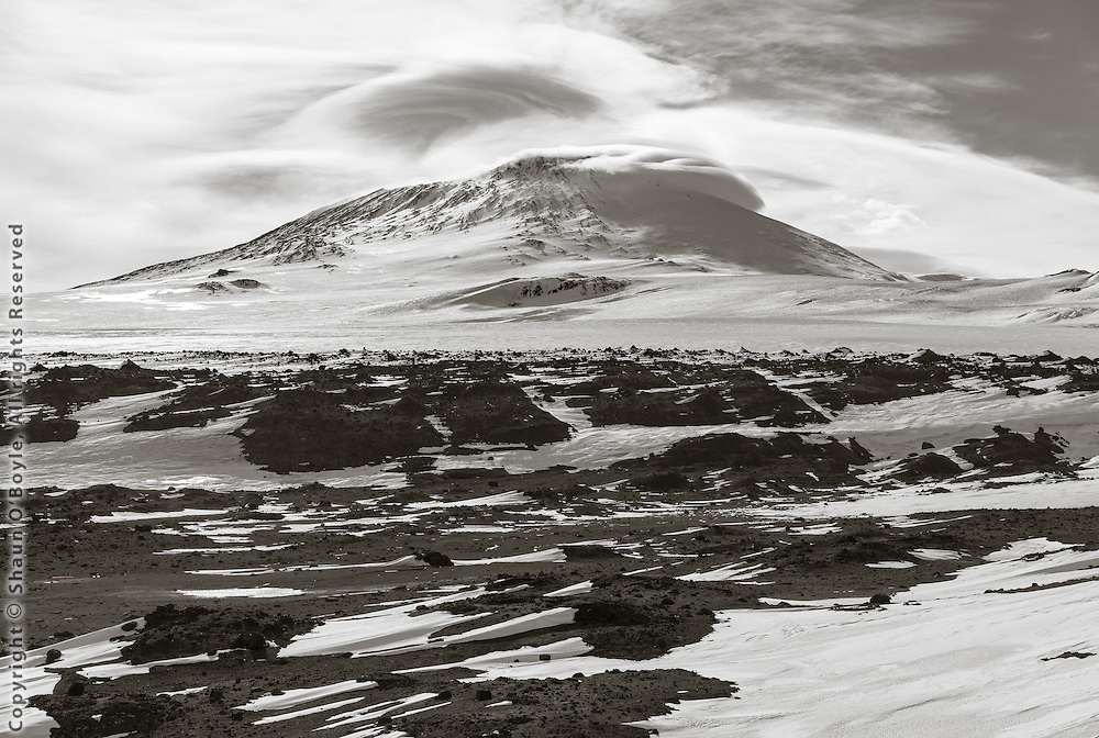 Mount Erebus from Cape Evans Windvane Hill