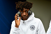 Eberechi Eze (30) of Queens Park Rangers wearing Beats headphones on arrival before the EFL Sky Bet Championship match between Bristol City and Queens Park Rangers at Ashton Gate, Bristol, England on 27 January 2018. Photo by Graham Hunt.