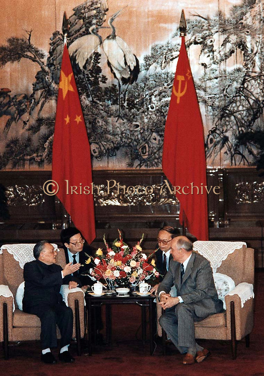 General Secretary of the Communist Party of the Soviet Union, Mikhail Gorbachev meeting Chinese supreme leader, Deng Hsiao Ping, during a visit to China in May 1989 to signify the normalization of relations between China and Russia parties and countries.
