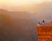 0107-1112 ~ Copyright:  George H. H. Huey ~ Hiker at Yaki Point. Sunset. Grand Canyon National Park. Arizona.