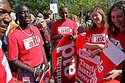 Trade Justice movement members from Christian Aid demonstrate outside the German embassy.
