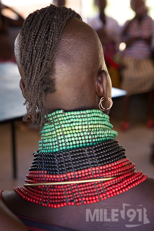 Rebecca, a Merlin trained midwife, talks to a group of women Lokichar District Hospital, Turkana, northern Kenya.