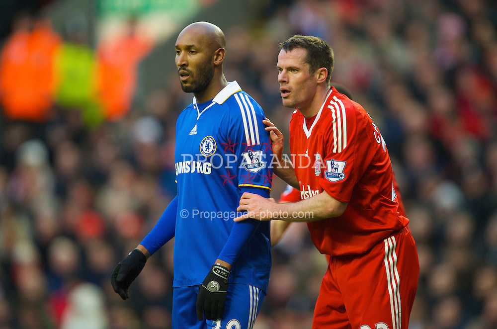 LIVERPOOL, ENGLAND - Sunday, February 1, 2009: Liverpool's Jamie Carragher and Chelsea's Nicolas Anelka during the Premiership match at Anfield. (Mandatory credit: David Rawcliffe/Propaganda)