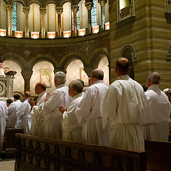 4 JUNE 2016 -- ST. LOUIS -- Parishioners and participants rise for The Gospel Acclamation of the Ordination of Deacons at the Cathedral Basilica of St. Louis Saturday, June 4, 2016 in St. Louis. Eighteen men from across the Archdiocese were ordained.<br /> <br /> Photo by Sid Hastings.