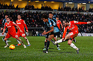 Luke Rooney of Luton Town (right) shoots during the Sky Bet League 2 match at Adams Park, High Wycombe<br /> Picture by David Horn/Focus Images Ltd +44 7545 970036<br /> 26/12/2014