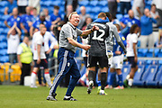 Cardiff City manager Neil Warnock celebrates the 1-0 win over Middlesbrough at full time during the EFL Sky Bet Championship match between Cardiff City and Middlesbrough at the Cardiff City Stadium, Cardiff, Wales on 21 September 2019.