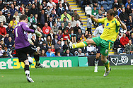 Preston - Saturday September 18th, 2010: Grant Holt of Norwich is denied by Prestons Andy Lonergan during the Npower Championship match at Deepdale, Preston. (Pic by Paul Chesterton/Focus Images)