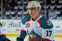 KELOWNA, CANADA - FEBRUARY 2: Alex Swetlikoff #17 of the Kelowna Rockets warms up against the Kamloops Blazers  on February 2, 2019 at Prospera Place in Kelowna, British Columbia, Canada.  (Photo by Marissa Baecker/Shoot the Breeze)