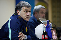 16.01.2014, Coliseum Alfonso Perez, Getafe, ESP, Copa del Rey, FC Getafe vs FC Barcelona, Achtelfinale, Rueckspiel, Pressekonferenz, im Bild Barcelona´s coach Tata Martino during the press conference // Barcelona´s coach Tata Martino during the press conference after the last sixteen 2nd leg match of Spanish Copa del Rey between Getafe CF and Barcelona FC at the Coliseum Alfonso Perez in Getafe, Spain on 2014/01/16. EXPA Pictures © 2014, PhotoCredit: EXPA/ Alterphotos/ Victor Blanco<br /> <br /> *****ATTENTION - OUT of ESP, SUI*****