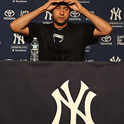 Derek Jeter, New York Yankees,  during his early morning press conference at Yankee Stadium before the New York Yankees V Baltimore Orioles home opening day at Yankee Stadium, The Bronx, New York. 7th April 2014. Photo Tim Clayton