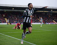 iJake Jervis of Plymouth Argyle celebrates after scoring his team's 1st goal to make it 1-0 during the Sky Bet League 2 match at Bootham Crescent, York<br /> Picture by Russell Hart/Focus Images Ltd 07791 688 420<br /> 14/11/2015