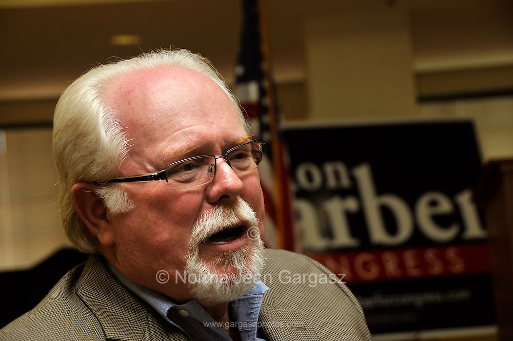 Ron Barber campaigns for the Arizona District 8 congressional seat at The Country Club of La Cholla Senior Living Apartments in Tucson, Arizona, USA, on April 19, 2012.  Barber was shot on January 8, 2011, along with Arizona Congresswoman Gabrielle Giffords, in a shooting spree that killed several people and wounded many others.