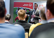 James Watkins- FA National Club and Coach Project Officer and Disability Football speaks during the 12th Special Olympics Football Conference 2014 at Novotel Hotel in Warsaw on April 11, 2014.<br /> <br /> Poland, Warsaw, April 11, 2014<br /> <br /> Picture also available in RAW (NEF) or TIFF format on special request.<br /> <br /> For editorial use only. Any commercial or promotional use requires permission.<br /> <br /> Mandatory credit:<br /> Photo by © Adam Nurkiewicz / Mediasport