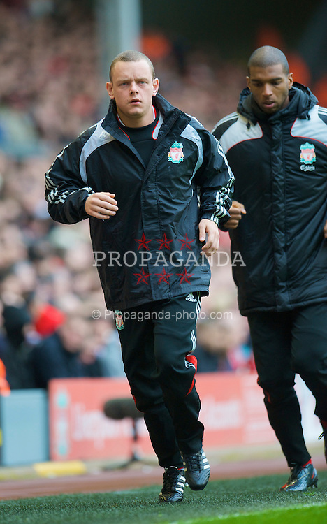 LIVERPOOL, ENGLAND - Sunday, February 22, 2009: Liverpool substitute Jay Spearing warms-up during the Premiership match against Manchester City at Anfield. (Mandatory credit: David Rawcliffe/Propaganda)