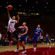 24 February 2018: The San Diego State women's basketball team closes out it's home schedule of the regular season Saturday afternoon against San Jose State. San Diego State Aztecs guard Naje Murray (10) attempts a layup on a fast break opportunity against San Jose State. At halftime the Aztecs lead the Spartans 36-33 at Viejas Arena.<br /> More game action at sdsuaztecphotos.com
