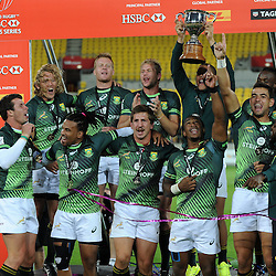 South Africa celebrate after they win the final of the 2017 HSBC World Sevens Series Wellington, Westpac Stadium in Wellington, New Zealand on Sunday, 29 January 2017. Photo: Kerry Marshall / lintottphoto.co.nz