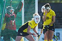 AMSTELVEEN - Speelsters van Terriers met een masker als gezichtsbeschermer bij een strafcorner  tijdens de hoofdklasse hockeywedstrijd tussen de vrouwen van Amsterdam en Terriers (4-0). COPYRIGHT KOEN SUYK