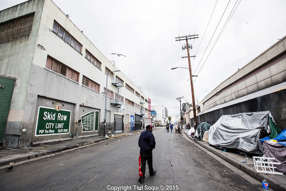 Skid Row in downtown Los Angeles. <br /> LAPD were involved in a shooting of a homeless man who attempted to grab an officer's gun. Skid Row has LA's largest concentration of homeless people who regularly camp on the sidewalks in tents and cardboard boxes.