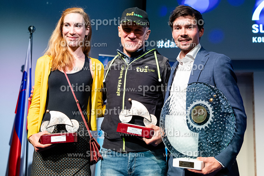 Laura Simenc, Andrej Zaubi and Primoz Roglic at the Slovenia's Cyclist of the year award ceremony by Slovenian Cycling Federation KZS, on November 26, 2019 in Ljubljana Castle, Ljubljana, Slovenia. Photo by Matic Klansek Velej / Sportida